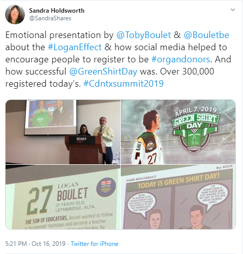 Tweet from CST participant with photos of the Boulets presenting