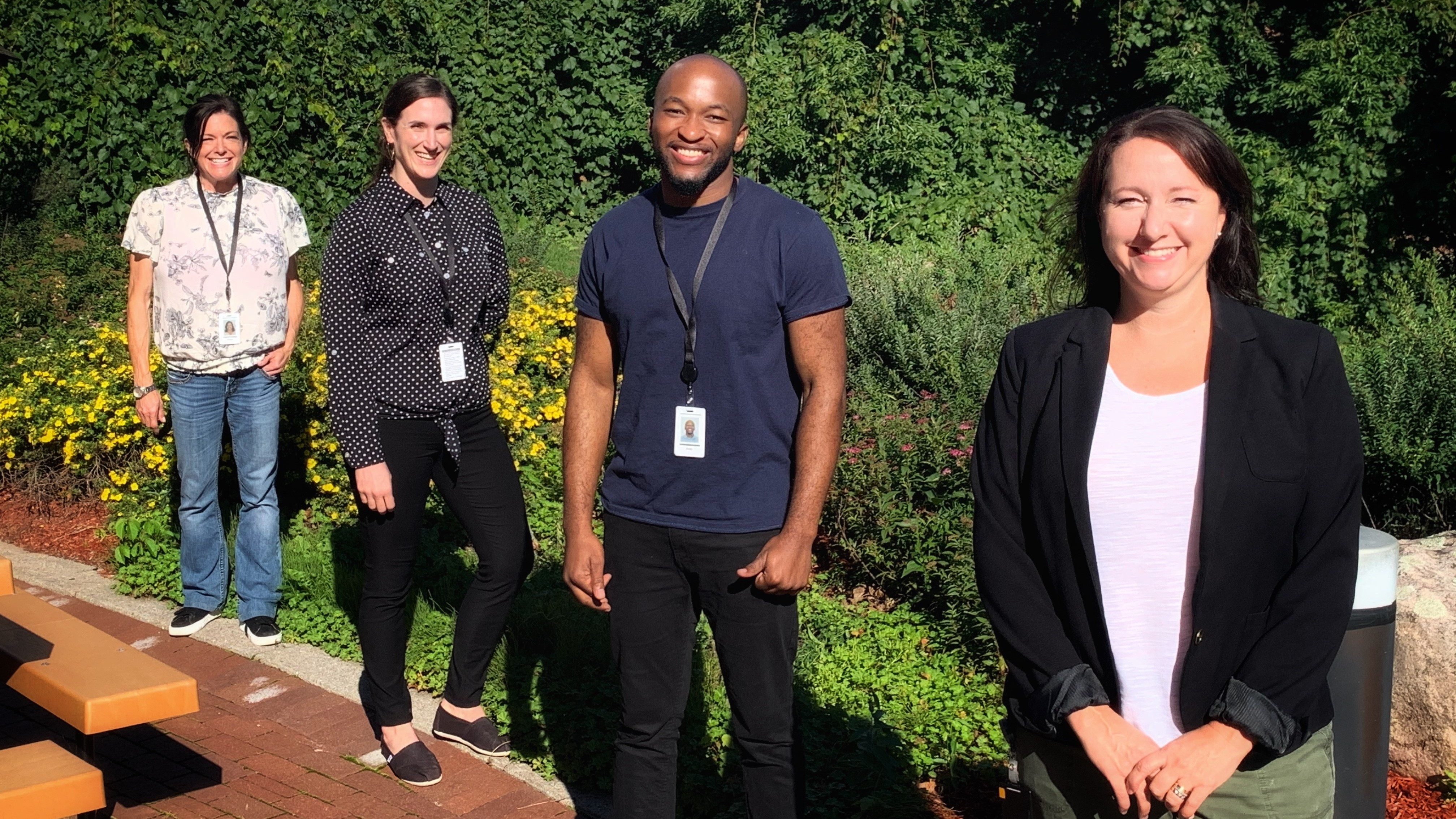 Lab team members Stacey Vitali, Carissa Kohnen, Andy Tshiula Kalenga and Valerie Conrod support the work of Canada's Immunity Task Force to provide the data needed to understand the scale of COVID-19 infection in Canada.
