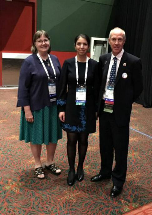 """Narges receiving her award for """"2019 Outstanding Abstract Award for Trainees"""" at AABB 2019"""