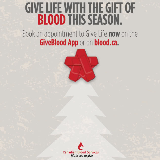 Give life with the gift of blood this season.