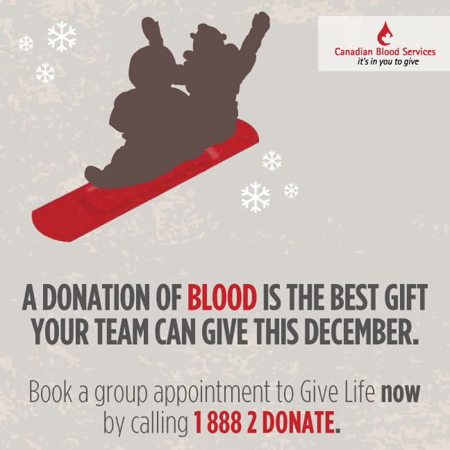 A donation of blood is the best gift your team can give this December.