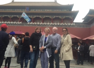 Kimberly Young, Susan Gunderson , Stephen Beed and Mirela Busic visit the Forbidden City palace in Beijing, China.>>
