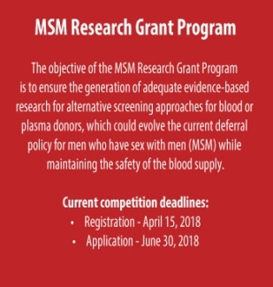 Poster of MSM Research Grant with red background and white text