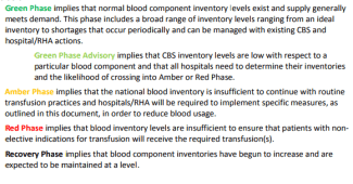 Green Phase implies that normal blood component inventory levels exist and supply generally meets demand.  This phase includes a broad rand of inventory levels ranging from an ideal inventory to shortages that occur periodically and can be managed with existing CBS and hospital / RHA actions. Green Phase Advisory implies that CBS inventory levels are low with respect to a particular blood component and that all hospitals need to determine their inventories and the likelihood of crossing into Amber and Red Phase. Amber Phase implies that the national inventory is insufficient to continue with routine transfusion practices and hospitals / RHA will be required to implement specific measures, as outlined in this document, in order to reduce blood usage. Red Phase implies that blood inventory levels are insufficient to ensure that patients with non-elective indications for transfusion will receive the required transfusion(s). Recover Phase implies that blood component inventories have begun to increase and are expected to be maintained at a level.