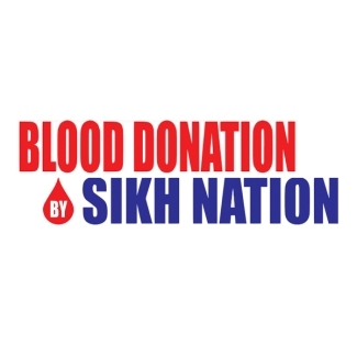 Logo of Sikh Nation in blue words and Blood donation in red words