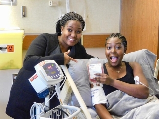 Revée Agyepong, right, was cured of sickle cell disease by stem cell transplant.