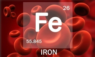 Image of red blood cells with iron symbol from periodic table
