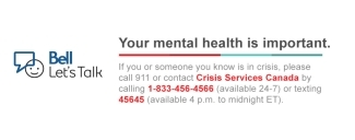 Graphic image of Bell Let's Talk. Your mental health is important.