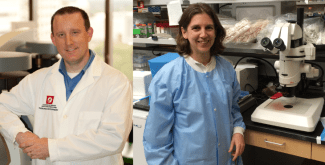 Dr. Jason Acker, Canadian Blood Services (left) and Dr. Sonia Bakkour, Blood Systems Research Institue (right).