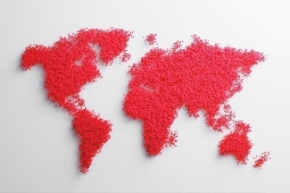 Poster of a world map on white background with red dots representing the land for Global matters