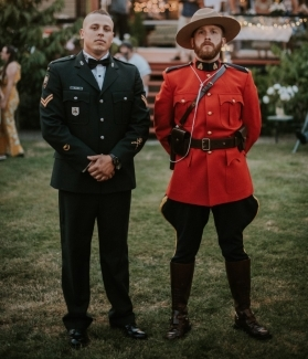 Cody Allard (left) served as best man at his friend Martin Peacey's wedding in 2019 and the two posed in their dress uniforms.