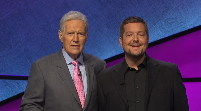 Kris Prue and Alex Trebek