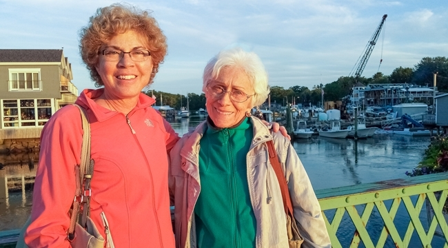 Image of Diane Charlebois and her mother outside on a bridge.
