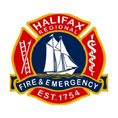 Logo of Halifax Regional Fire & Emergency with red and blue colours. Established in 1754