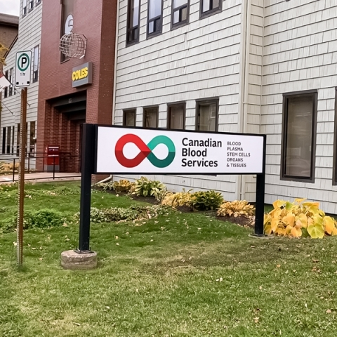Image of Charlottetown donor centre with the Canadian Blood Services signage outside.