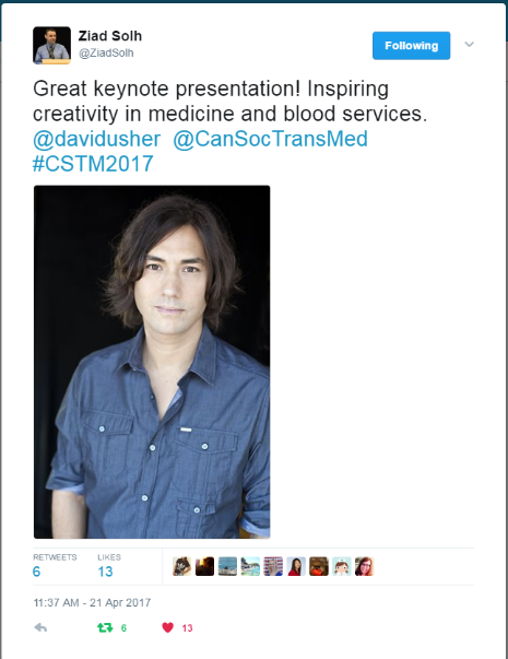 Ziad Solh tweets about David Usher keynote at CSTM 2017