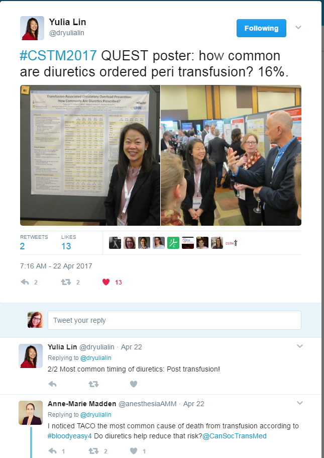Yulia Lin Tweets about QUEST poster at CSTM 2017